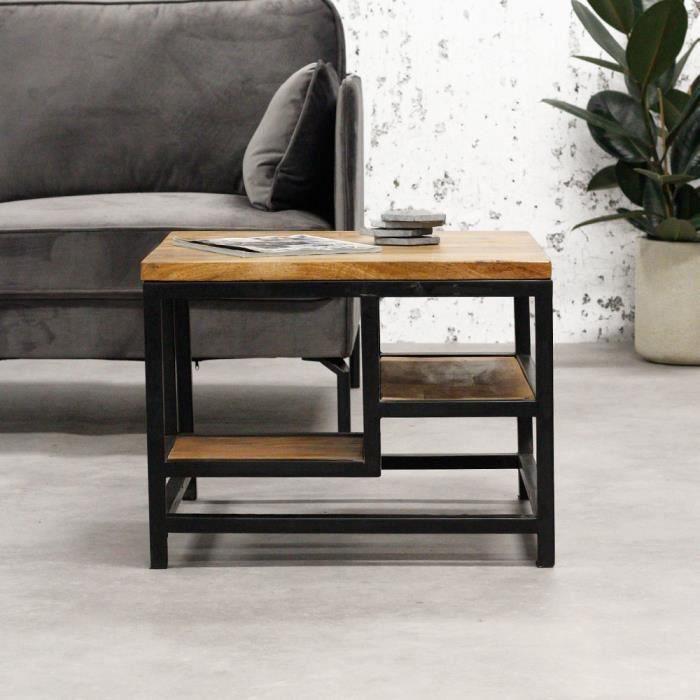 Livia Table Basse 60x60 cm Industriel - Bois Massif Carré