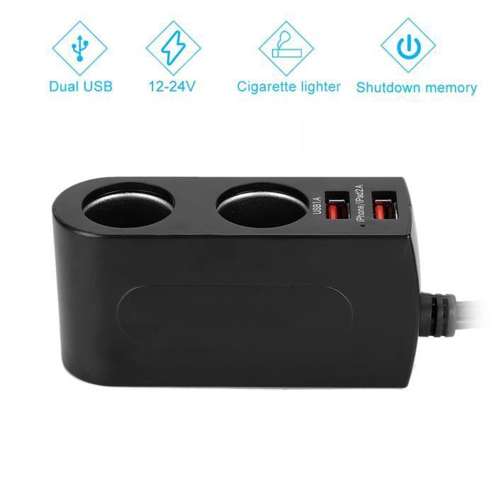 Chargeur de voiture de cigarette, adaptateur d'allume-cigare de voiture, mémoire d'arrêt automatique 12-24V, pour les