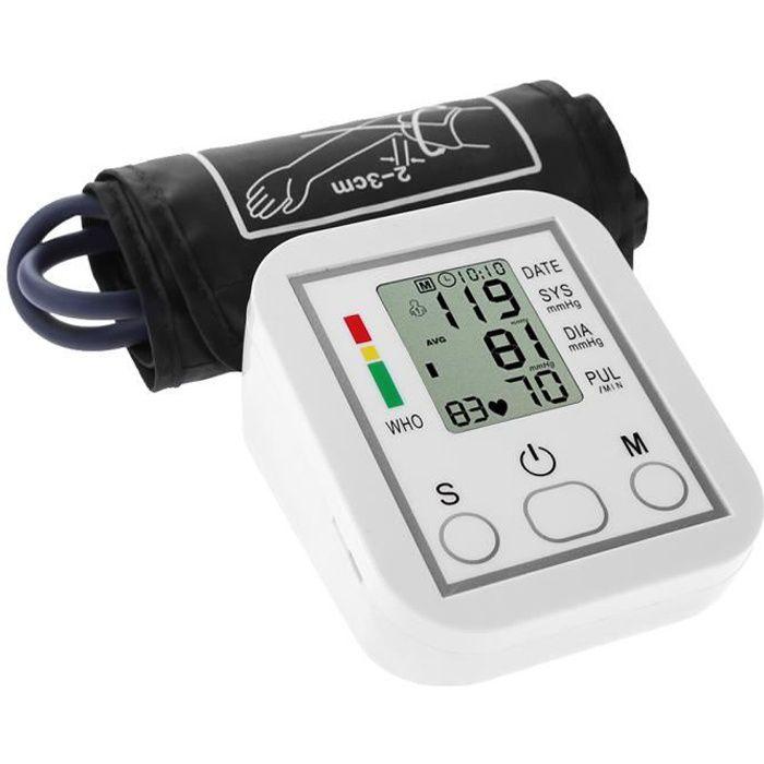 Moniteur de pression artérielle Portable, domestique Type de bande de bras Sphygmomanomètre Affichage LCD Mesure précise