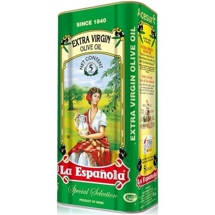 LA ESPAÑOLA - Huile D'Olive Extra Vierge Extraction à froid Bidon 5L Epicerie Fine Espagnole Huile D'Olive