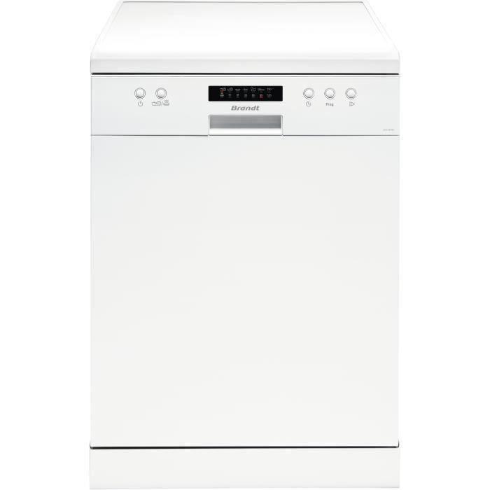 Lave-vaisselle pose libre BRANDT LVC137W - 13 couverts - Largeur 60 cm - Classe A++ - 47 dB - Blanc