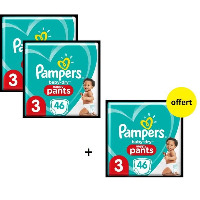 Pampers Baby Dry Pants Geant T3 X138 - Lot de 3