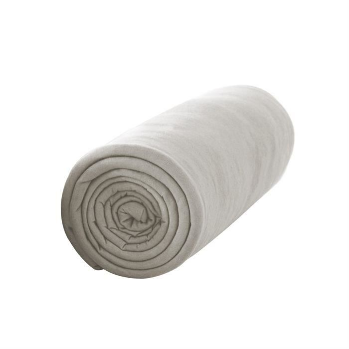 TODAY Drap housse 100% coton - 140 x 190 cm - Mastic (Lot de 2)