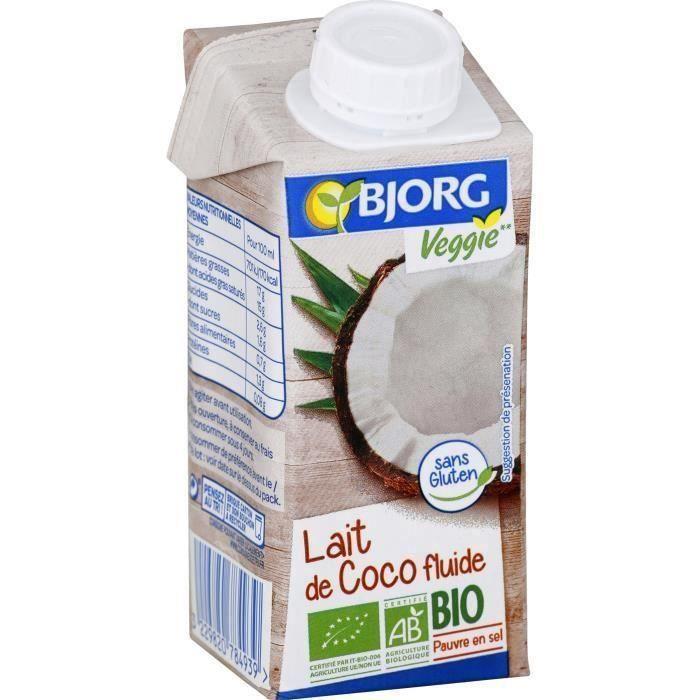 BJORG Lait de Coco Cuisine Bio 200ml X3