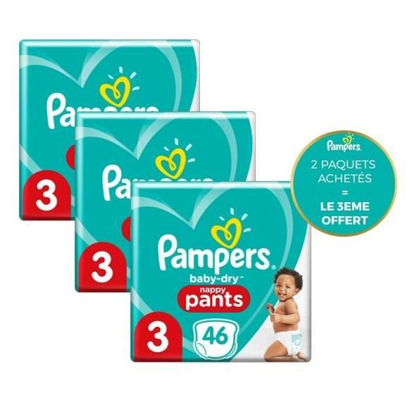 Pampers Baby-Dry Pants Couches-Culottes Taille 3, 46 Culottes - Lot de 3