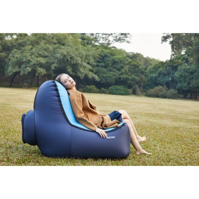 Canapé Gonflable Air Sofa Ergonomique Pliable avec Dossier en Nylon Étanche Anti-déchirure pour Camping Bureau Voyage, Bleu Foncé