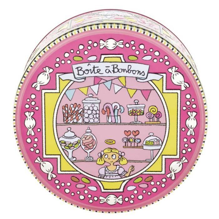 Boîte Ronde à Bonbons SI BONS en Métal Embossé Rose Accessoire de Cuisine Rangement Conservation Valérie Nylin Dlp Derrière La Porte
