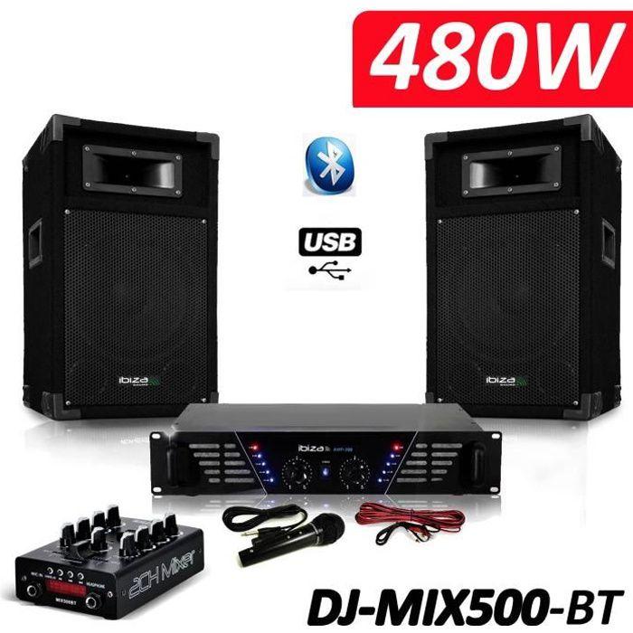 Pack Sono complet DJ-MIX500-BT ampli + enceintes 500W + Table de mixage USB Bluetooth Micro + Câbles