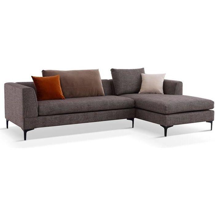 Canapé d'angle en tissu JULY - Gauche - Marron Gauche - issu