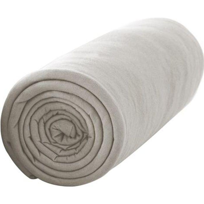TODAY Drap housse 100% coton - 140 x 190 cm - Mastic