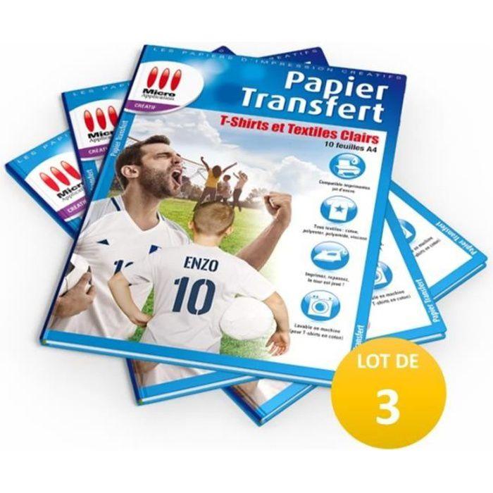 LOT DE 3 PACKS : 3X Papier Transfert pour T-shirts et Textiles Clairs Micro Application 3x MA-5017 soit 30 feuilles A4