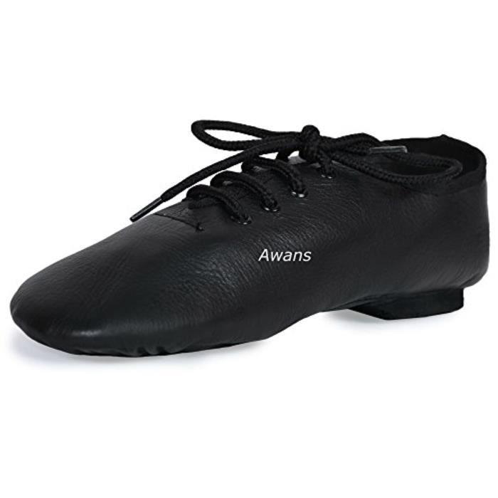 Sandale De Randonnee QXEE1 Cuir pur, Split Suede Sole Jazz chaussures de danse, Noir Taille-UK 12