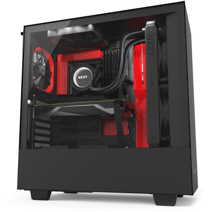 Nzxt Boîtier Pc Smart H500i Atx Smart Device Panneau en verre trempé Noir et rouge