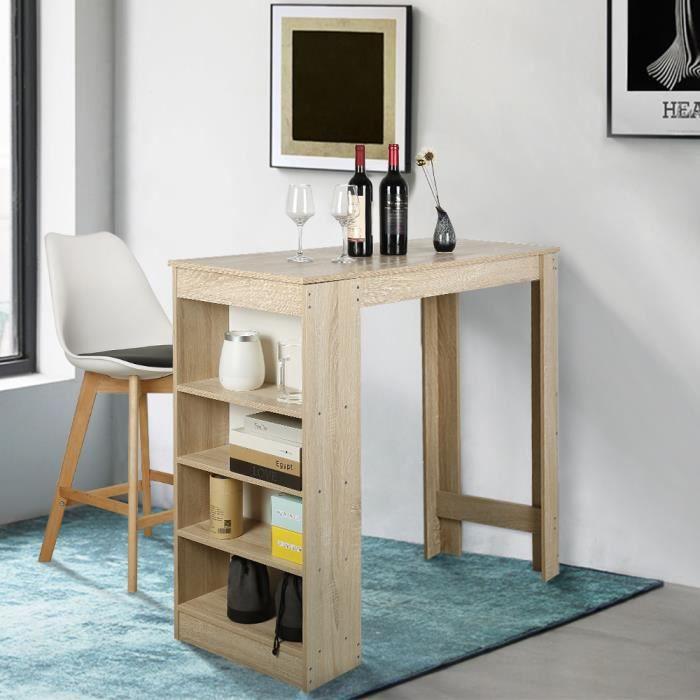 Table Haute de Bar Mange-debout Cuisine avec rangements – Décor chêne - 115x50x103CM