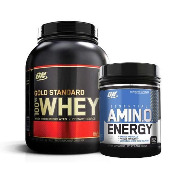 100 % WHEY PROTEIN GOLD STANDARD 2,263 kg VANILLE + Amino Energy 558g OPTIMUM NUTRITION PROTEINES