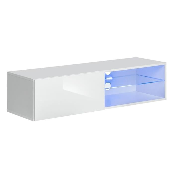 Meuble Tv Led Design -switch Iv- 120cm Blanc - Paris Prix