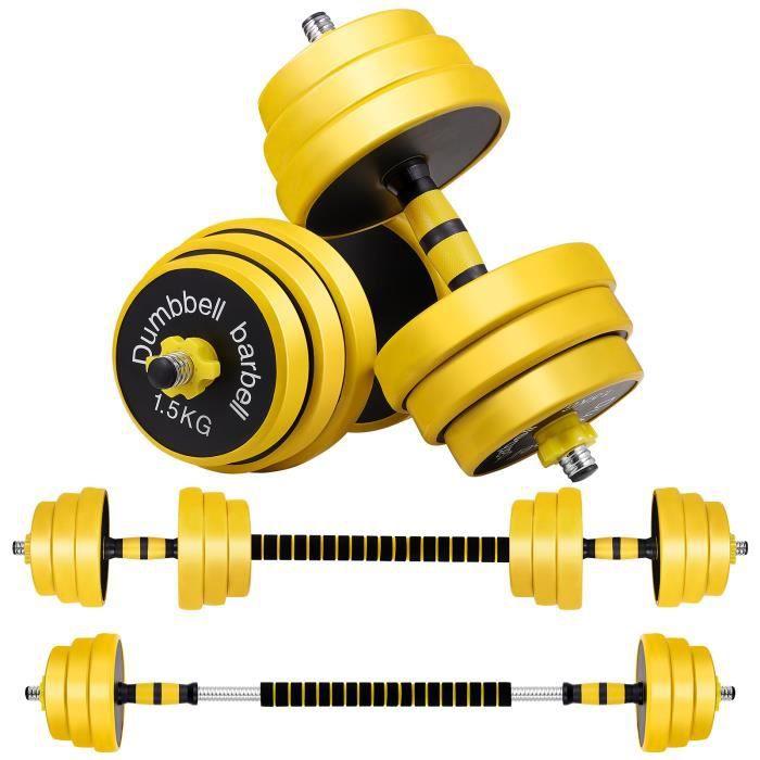 Clispeed haltère réglable 25kg Poids Ajustables, Lot de 2 Kit haltère réglables 25 kg (Noir)