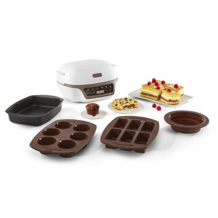 TEFAL KD802112 Cake Factory+ Machine intelligente à gâteau - Blanc / marron métallisé