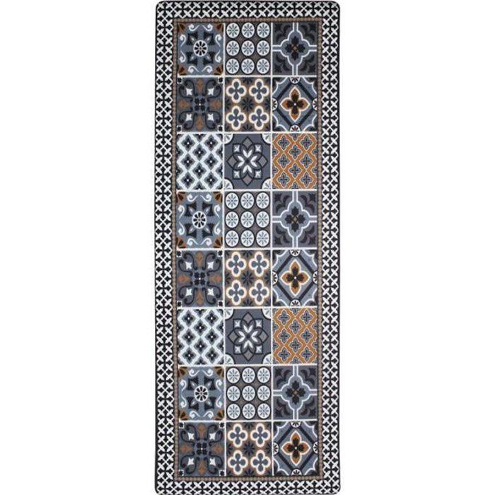 AZULEJOS VINYLE - Tapis de cuisine carreaux de ciment bleu foncé 45x120