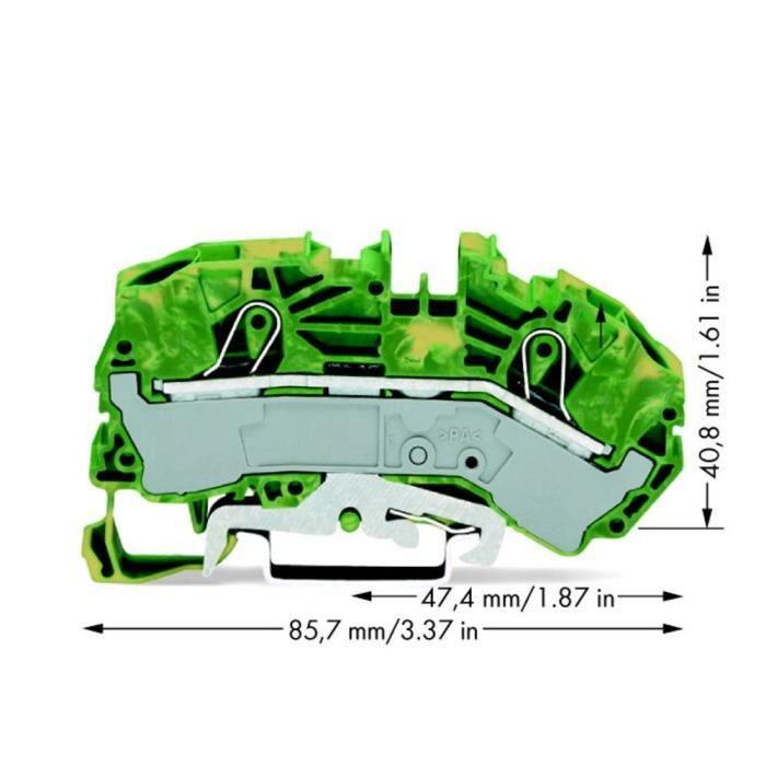 Borne pour conducteur de protection WAGO 2016-7607 12 mm ressort de traction Affectation des prises: terre vert-jaune 20 pc(s)