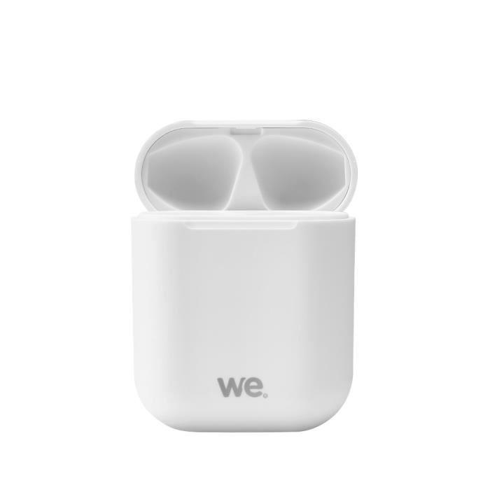WE Ecouteurs Bluetooth 5.0 - Léger sans Fil - Microphone intégré Boitier de Recharge de 300 mAh Contrôle Tactile - Blanc