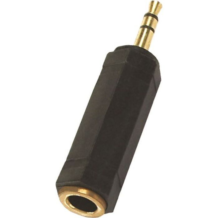 APM Adaptateur Jack 3,5 Mm Stereo//Femelle 6,35 Mm Stereo Adapt Gold