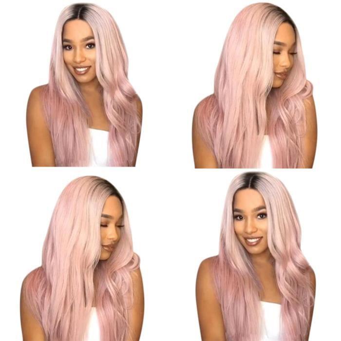 Beautyjourney Perruque Mauve Colle Pour Lace Wigperruque Femme Roux Perruque Natte Huile De Coco Cheveux
