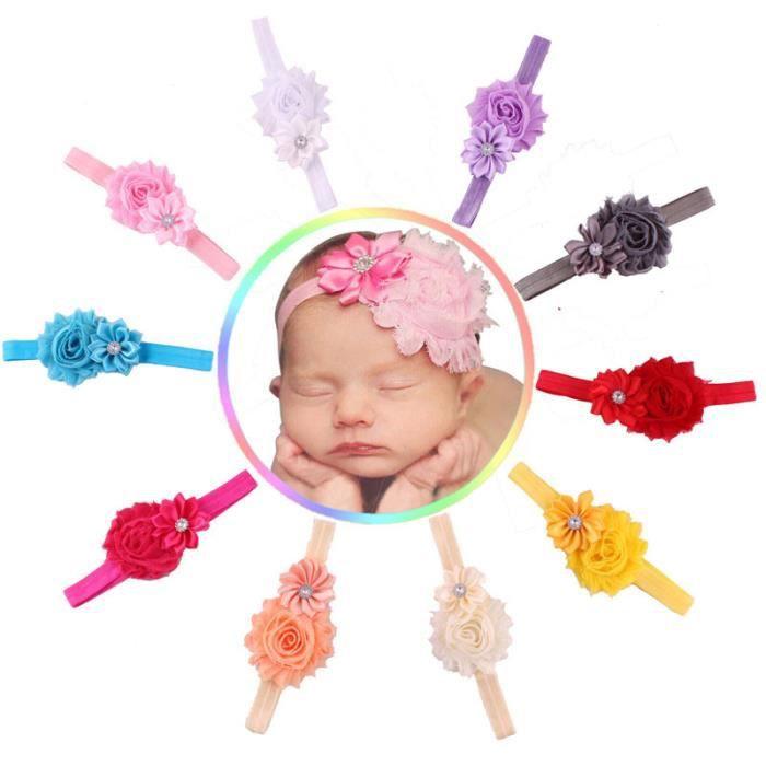 10Pcs Nouveau-né Filles pour Bébé en Mousseline de Soie Fleur Enfants Cheveux Bande Serre-tête coiffure