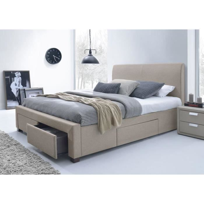 lit tissu beige avec t te de lit seattle 160 x 200 achat. Black Bedroom Furniture Sets. Home Design Ideas