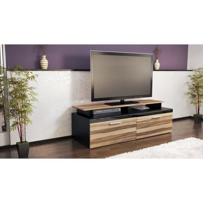 meuble t l noir et bois nervur 140 cm achat vente. Black Bedroom Furniture Sets. Home Design Ideas