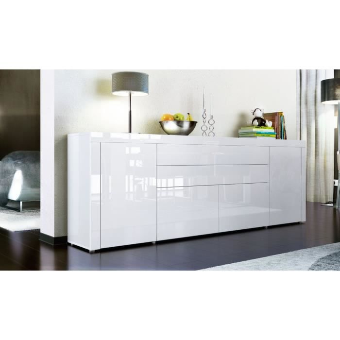 buffet enfilade blanc 200 cm achat vente buffet bahut buffet enfilade cdiscount. Black Bedroom Furniture Sets. Home Design Ideas