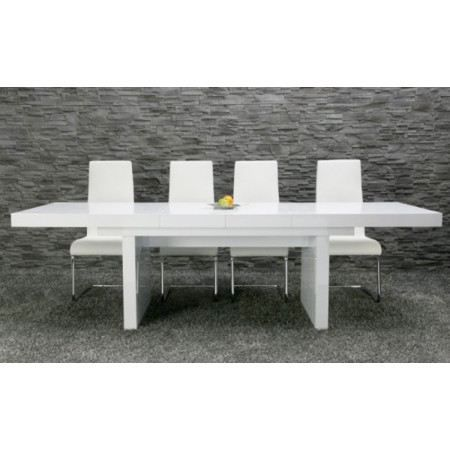 Table manger titanic extensible blanc laqu achat - Table blanc laque rallonge ...