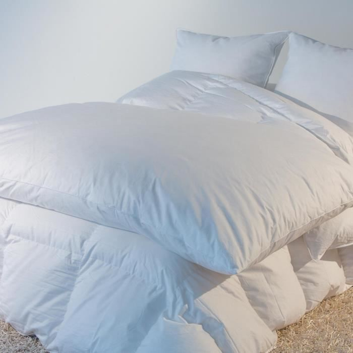 COUVERTURE - PLAID Édredon naturel Eco - 30% duvet neuf - Blanc - 140