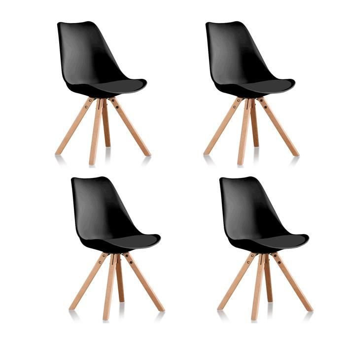CHAISE Lot De 4 Chaises Scandinaves Noires