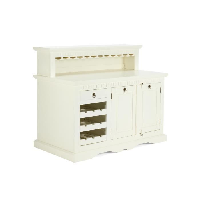 meuble de bar antonio en pin massif blanc massivum achat. Black Bedroom Furniture Sets. Home Design Ideas