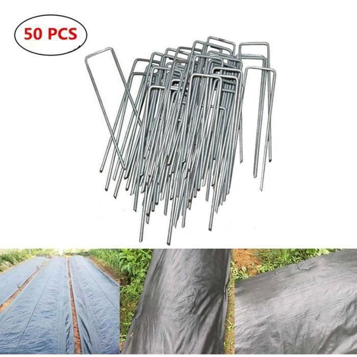 Lot de 200 Agrafes de Fixation M/étal pour Toile de paillage ou geotextile avec Pointes biseaut/ées 20cmX20cmX20cm