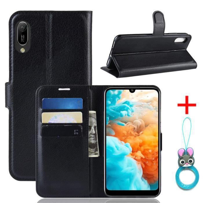 HOUSSE - ÉTUI Coque Huawei Y6 Pro 2019 Noir en PU Cuir avec prot