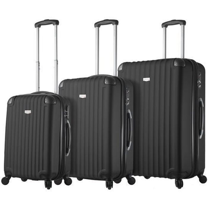 SET DE VALISES DUBLANC Lot de 3 Valises Rigides Noir.