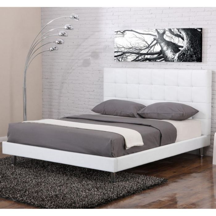 lit design milano blanc 140x190 achat vente structure. Black Bedroom Furniture Sets. Home Design Ideas