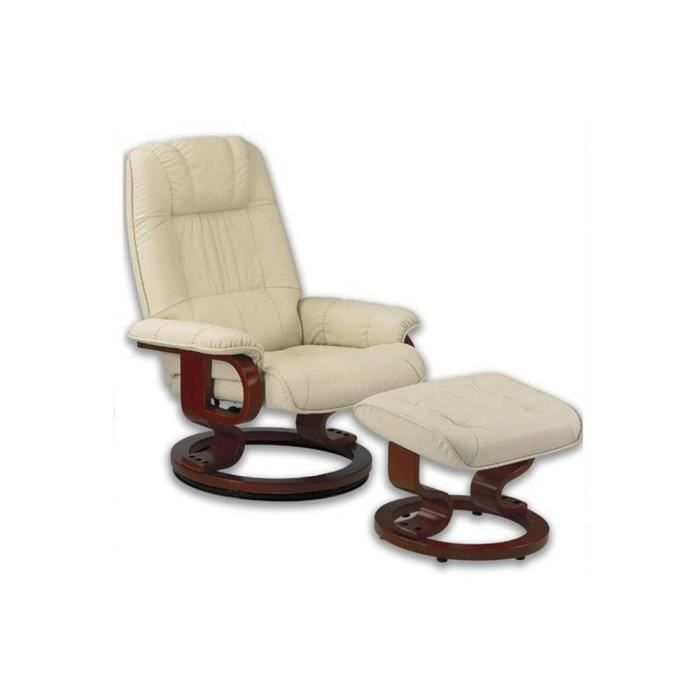 Excel fauteuil relax avec repose pieds cuir beige achat vente fauteuil p - Cdiscount fauteuil relax ...