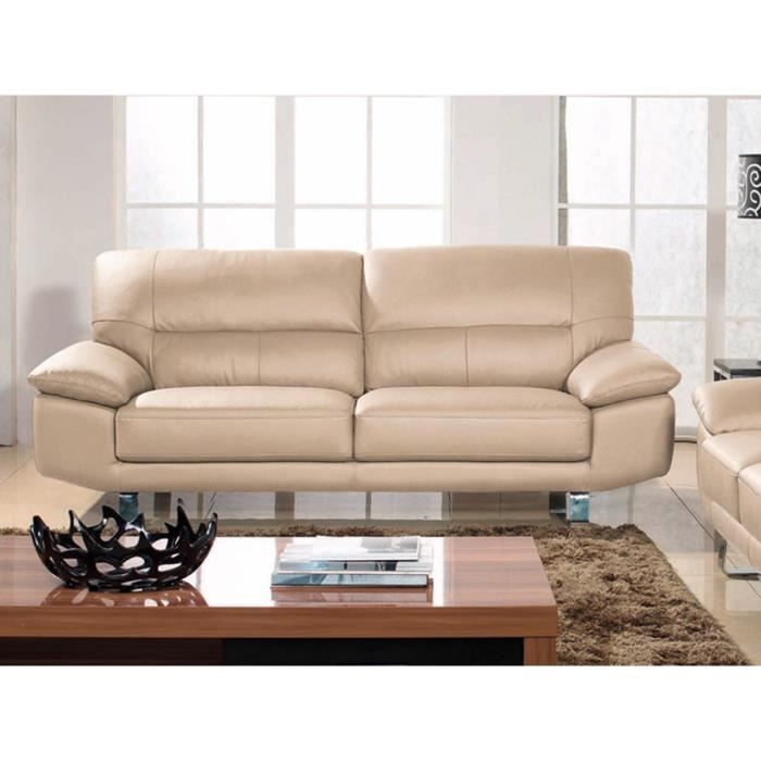canap cuir 2 places beige eva achat vente canap sofa divan cuir pu polyur thane. Black Bedroom Furniture Sets. Home Design Ideas