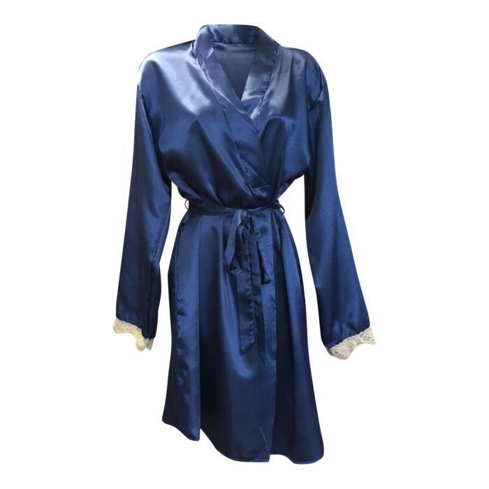 Sock Snob Robe De Chambre Femme Satin Peignoir De Bain Douce Blue Achat Vente Robe De Chambre Cdiscount
