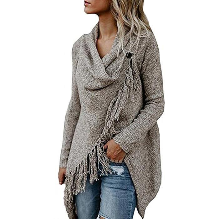 GILET - CARDIGAN Minetom Femme Gilet Chandail Sweater Poncho Cape E