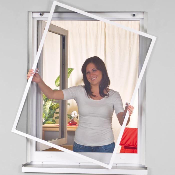 marron Store moustiquaire pour fenêtre enroulable cadre en aluminium blanc