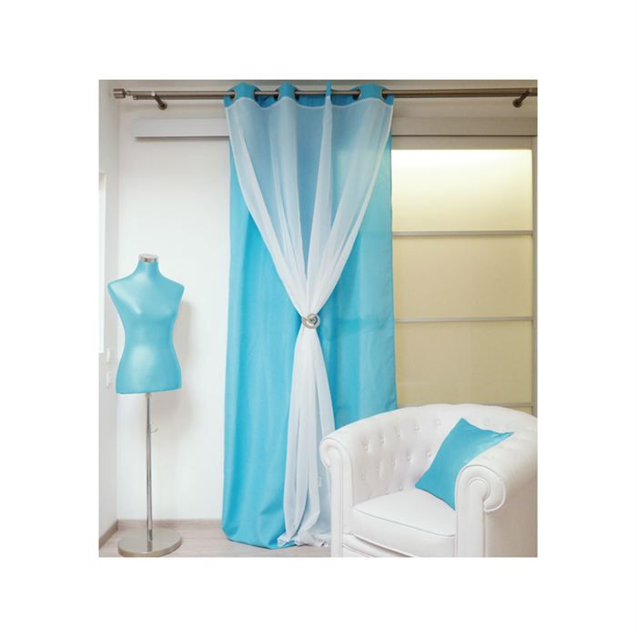 rideau taupe et turquoise. Black Bedroom Furniture Sets. Home Design Ideas