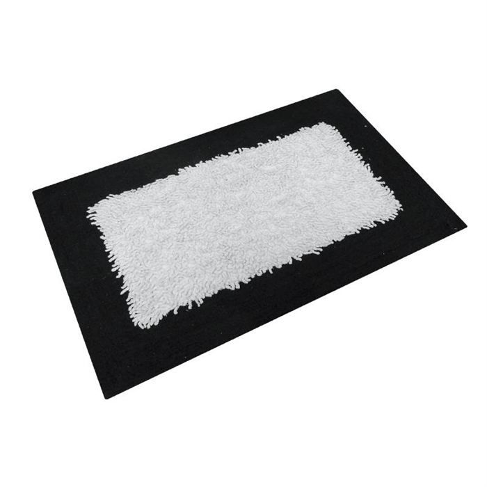 tapis 60x110 cm nicolas noir et blanc 100 coton achat vente tapis de bain cdiscount. Black Bedroom Furniture Sets. Home Design Ideas