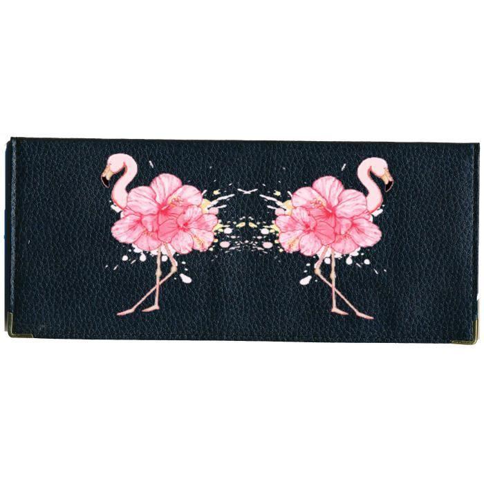Porte ch/équier Porte Carte en Cuir Noir Flamant Rose
