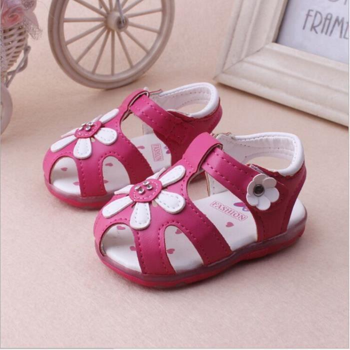 Bébé bambin filles Toile Chaussures Enfants Sandales-bleu avec fleur UK 3//EU 19
