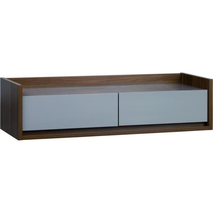 inbox meuble tv bas noyer et beige achat vente. Black Bedroom Furniture Sets. Home Design Ideas