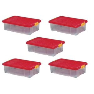 BAC DE RANGEMENT OUTILS Lot de 5 boîtes de rangement plastique, transparen